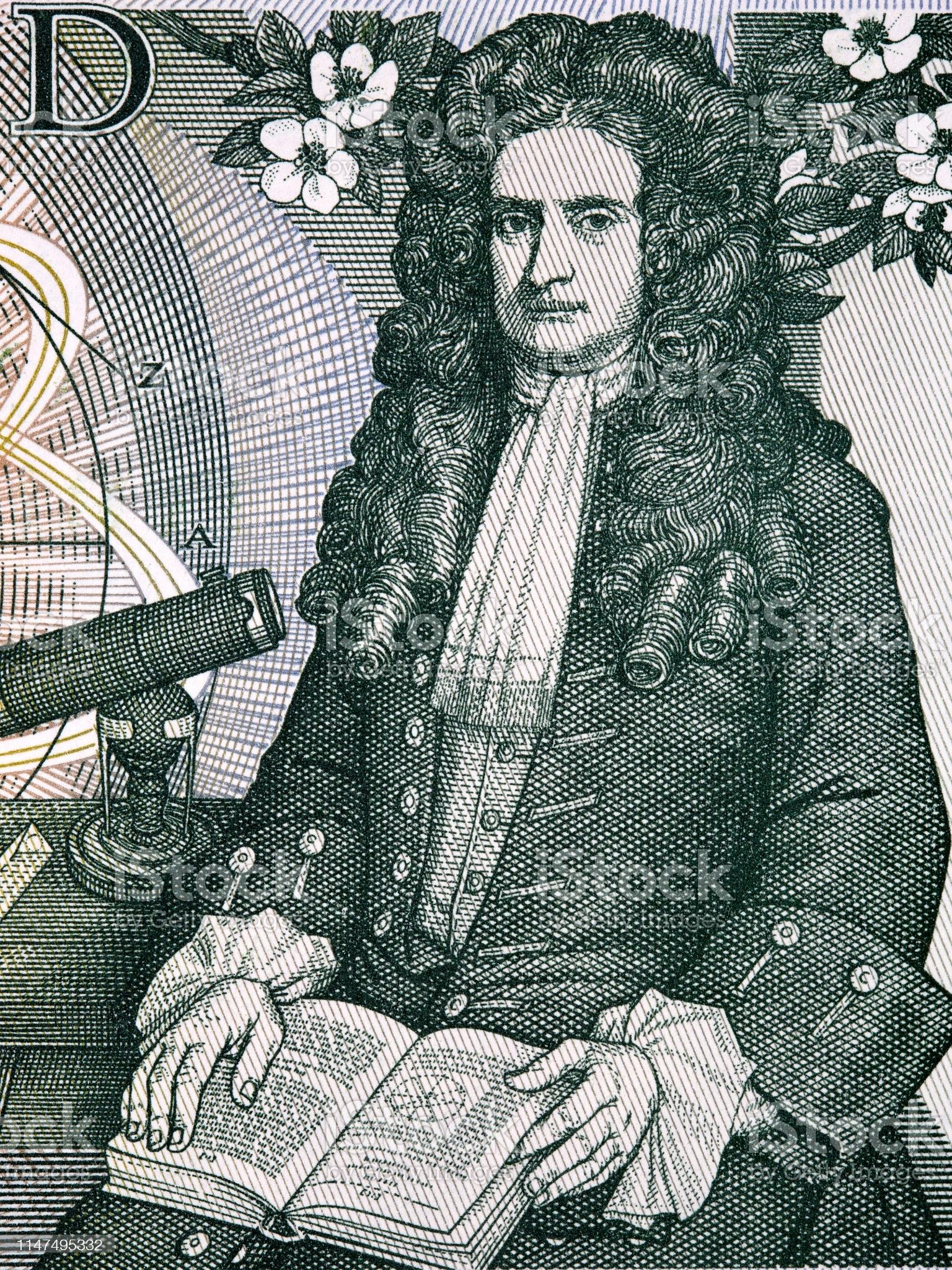 Isaac Newton un portrait de vieil argent anglais - Photo de Angleterre libre de droits