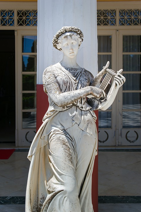 Muse, Femme, Sculpture, Statue, Achilleion, Corfu
